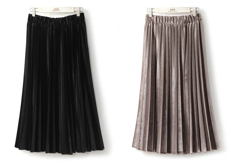 Women Long Metallic Silver Maxi Pleated Skirt Midi Skirt High Waist Elascity Casual Party Skirt 2