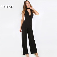 COLROVIE Black Double V Sleeveless Jumpsuit Sexy Slim Women Elegant Cut Out Work Jumpsuit 2017 Autumn