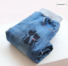 Y31348839 Retail 2017 Spring Fashion Girl Jeans Solid Embroidery Cats Girl Skinny Pants Denim Girl Clothing