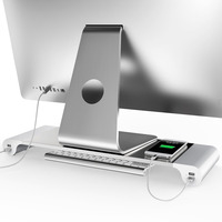 2017 New Arrival Aluminum Alloy Monitor Stand Space Bar Dock Desk Riser with4 USB Ports for iMac MacBook Computer Laptop Gadgets