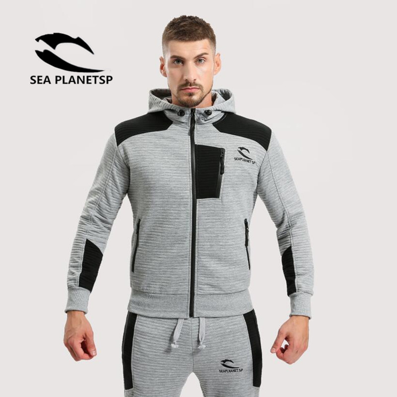 SEA PLANETSP 2017 Spring Autumn Hoodies Men Fashion Sportswear Brand Zipper Unlined Upper Garment hoodies Men's Clothes