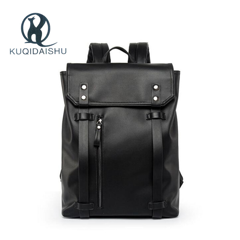 High Quality 2018 Backpack Men PU Leather Vintage Travel Men Bag for Teenagers Large capacity BlackHigh Quality 2018 Backpack Men PU Leather Vintage Travel Men Bag for Teenagers Large capacity Black