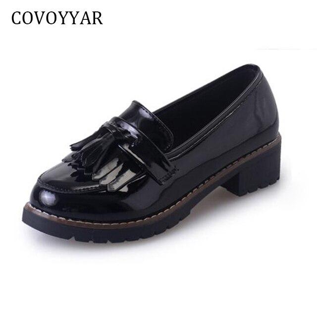 Mocasines estilo británico Oxford Brogue, zapatos de tacón bajo mujeres.