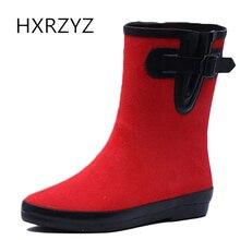 HXRZYZ резиновые сапоги дождя женщины пряжки сапоги сапоги весной и осенью женщины новые моды высокого качества скольжения устойчивостью женщин обувь