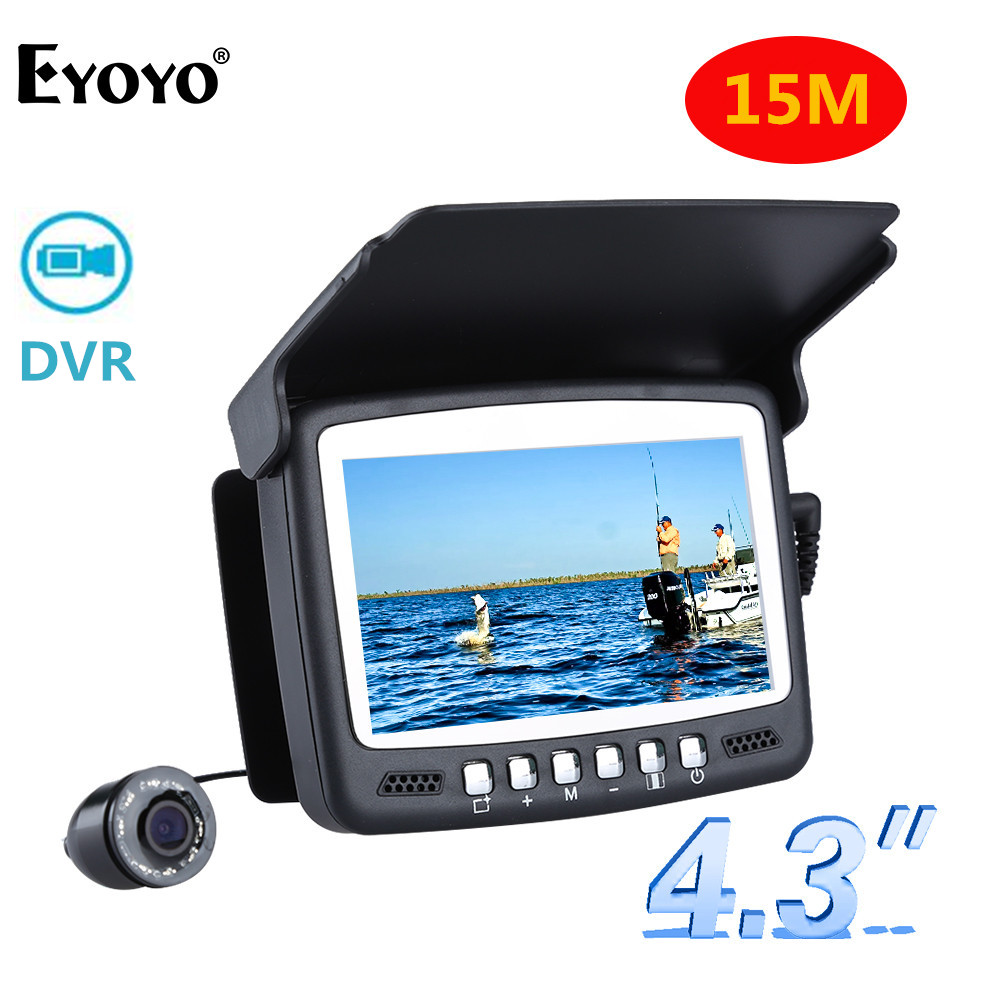 Eyoyo Original 15M Infrared Fish Finder 1000TVL Underwater Ice Fishing Camera Video Recording DVR 4.3 Monitor Camera for Fishing 3pcs lot eyoyo original 1000tvl underwater ice video fishing camera 15m cable fish finder 3 5 color lcd monitor fishfinder