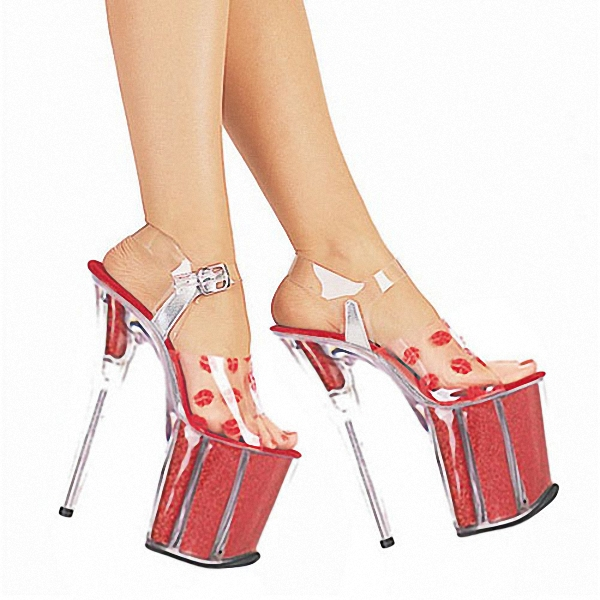 2017 crystal shoes wedding shoes 20cm high-heeled shoes red lips sexy sandals 8 Inch Paris Fashion Party Shoes 20cm high heeled shoes transparent crystal sandals 8 inch wedding dress shoes back strap party exotic dancer performance shoes