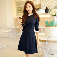 Dabuwawa Women Dark Blue Ruffles Vintage Dress Long Sleeve Spring A Line Casual knitted Elegant Dresses for Female Girls