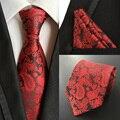 Fábrica dos homens Clássicos 100% De Seda Conjunto Empate (laços Lenço) Red Paisley Floral Bolso Praça Pescoço Laço do Negócio Gravata Hanky