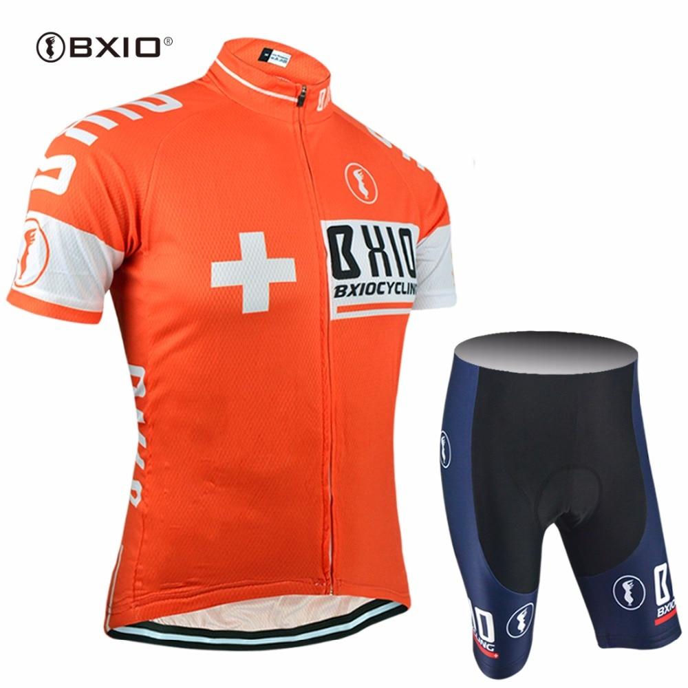 Prix pour BXIO D'été Cyclisme Ensembles À Manches Courtes Vélo Kits Pro Équipe Vélo Tissu Promotion Vélo Vêtements Multi Couleurs Ropa Ciclismo 025