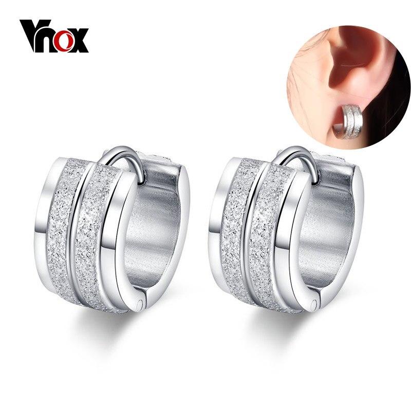 5aeb6466d5e2 Vnox pequeño Pendientes de Aro para las mujeres de acero inoxidable  pendientes plata color cuff estilo coreano