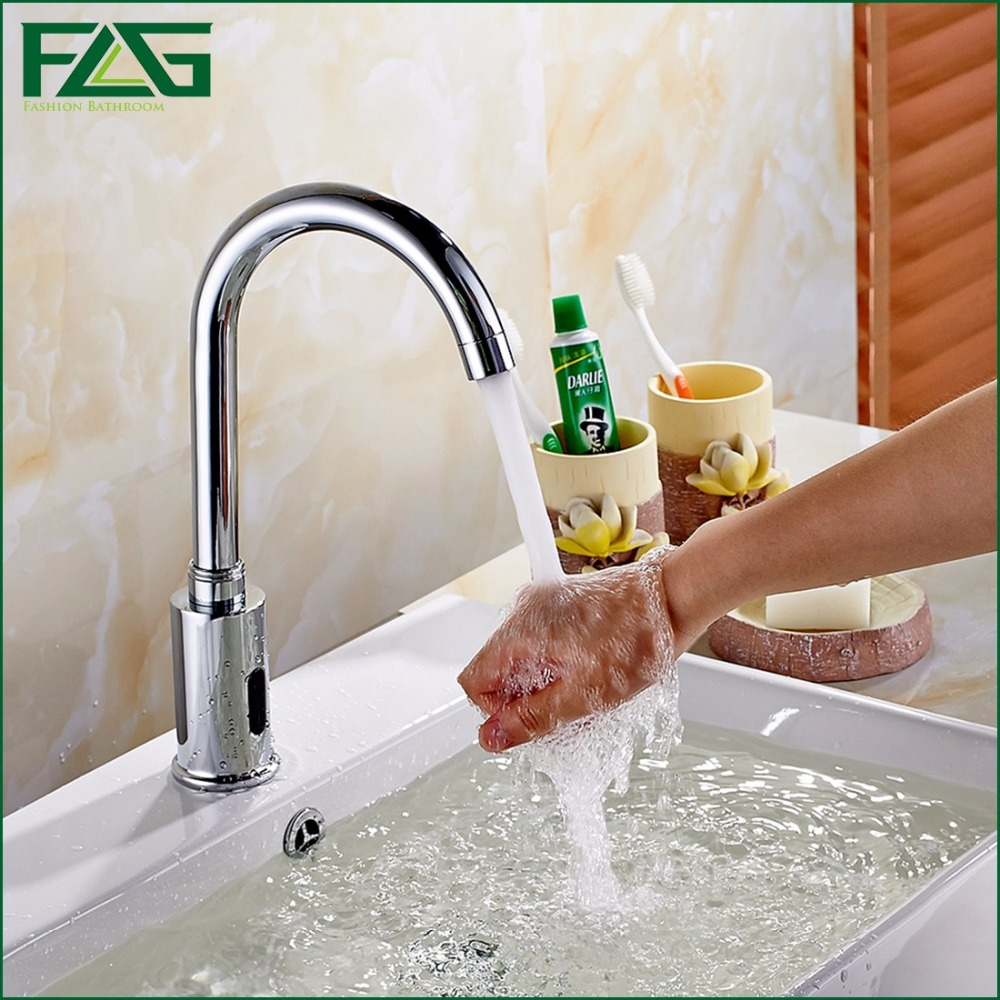 Water Saving Faucet Chrome Polished Touchless faucet Fully-automatic Faucet Infrared Sensor Tap Waterfall Bathroom Faucet 8809 free shipping polished chrome finish new wall mounted waterfall bathroom bathtub handheld shower tap mixer faucet yt 5333