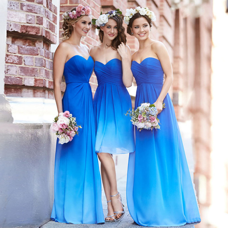 Ombre Dress Blue Bridesmaid Dresses Sweetheart Pleat Bridesmaid Dress