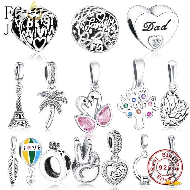 213944983 FC Jewelry Fit Original Pandora Charms Bracelet Authentic 925 Silver Paris Eiffel  Tower Pendant Hanging Beads Berloque DIY Gift