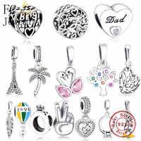 FC bijoux Fit Original bracelet à breloques Pandora authentique 925 argent Paris tour Eiffel pendentif perles suspendues Berloque bricolage cadeau