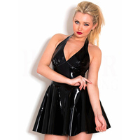 Gothic Women Wetlook Latex Pleated Dress Sexy Backless Pvc Vinyl Leather Tunic Dresses Robe Femme Plus Size Clubwear Black Red