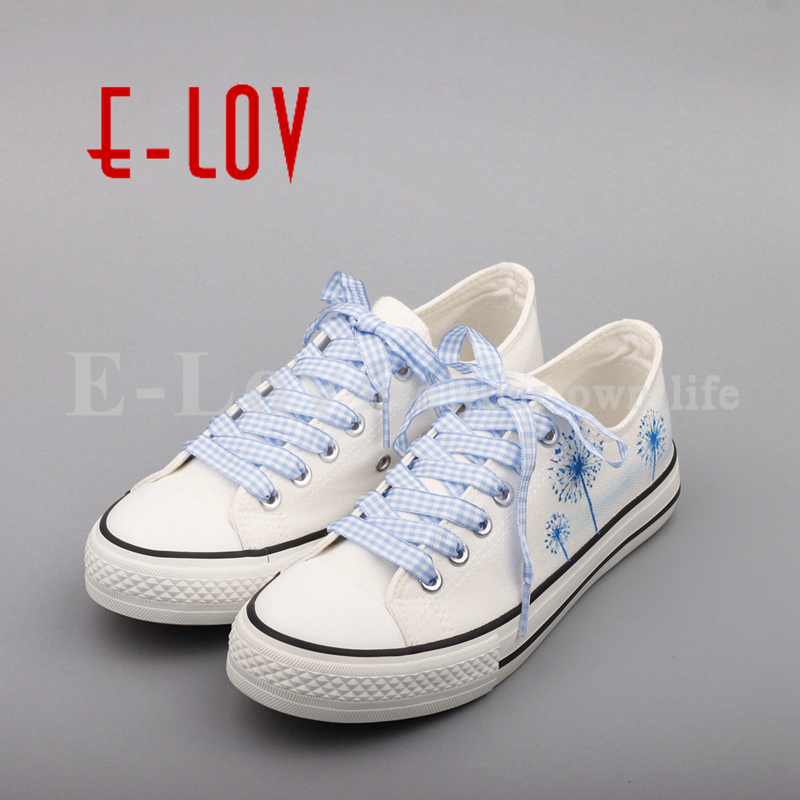 E-LOV 2017 Summer Women Hand Painted Canvas Shoes Floral Cartoon Casual Flats Plus Size Espadrilles Dropshipping e lov brand design japan logo printed canvas shoes women customized japanese summer platform tenis shoes espadrilles