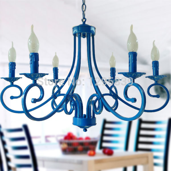 Multiple Chandelier living room dining bedroom lamp light blue Mediterranean garden lighting lamps wrought iron candle lamp ZX63 zx hot sale solid wood iron nut e27 led chandelier height adjustable for dining room bar bedroom