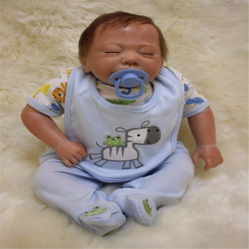 18 inch 47 cm Silicone baby reborn dolls, lifelike doll reborn Cute baby doll sleeping baby boy sleeping doll gift