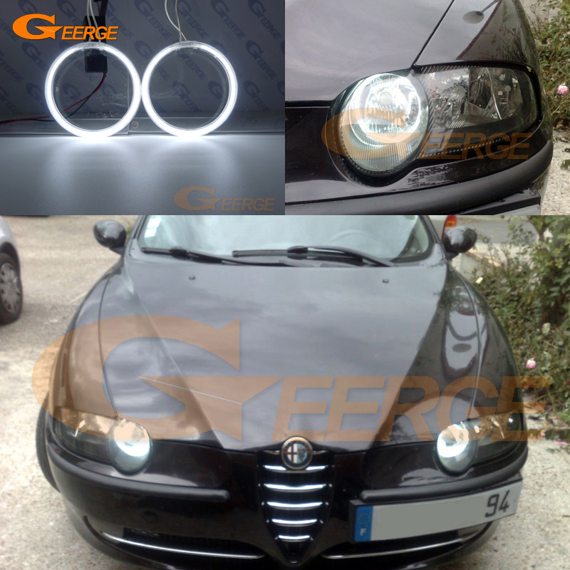 For Alfa Romeo 147 2000 2001 2002 2003 2004 Halogen headlight Excellent Ultra bright illumination CCFL Angel Eyes kit Halo Ring