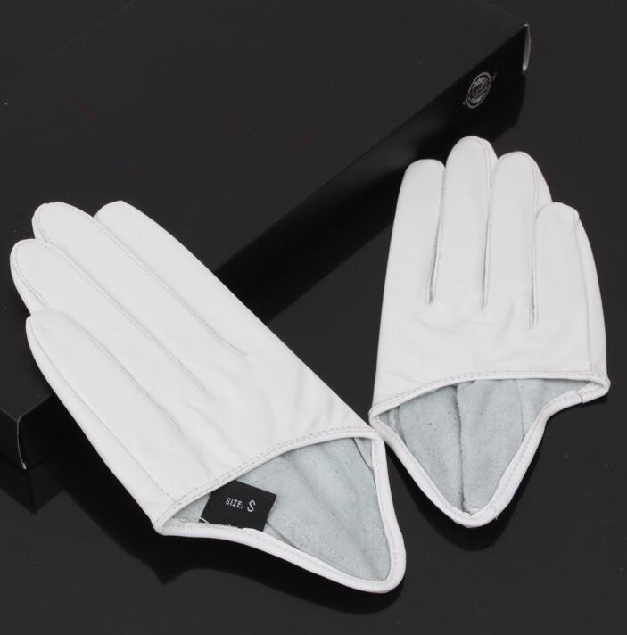 Women's Natural Sheepskin Leather Solid White Color Half Palm Gloves Female Genuine Leather Fashion Short Driving Glove R1169