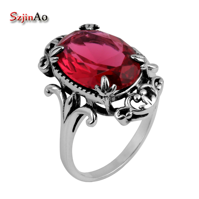 Szjinao Antiques 925 Jewelry Fashion Vintage Vitoria Women Red Ruby Rings Genuin