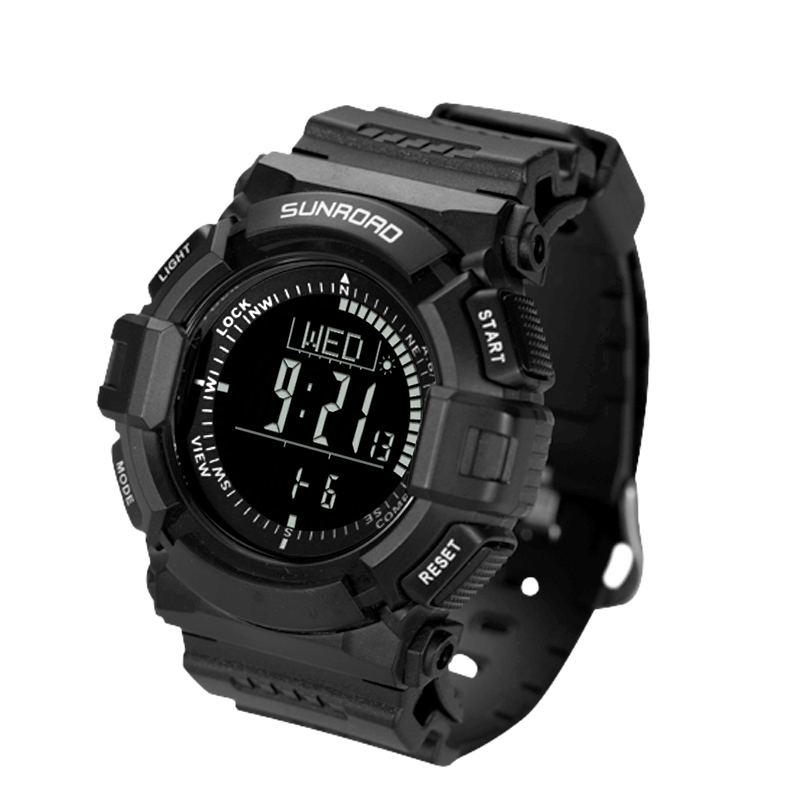 SUNROAD 2018 New Arrival Sports Men Altimeter Watch Altimeter Barometer Compass Watch Stopwatch Men Digital Wristwatch FR823B sunroad 2018 new arrival outdoor men sports watch fr851 altimeter barometer compass pedometer sport men watch with nylon strap