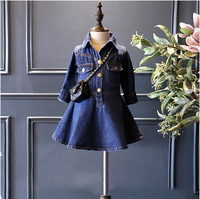 2016 Autumn Winter Turn Down Collar Baby Girls Dress Denim Clothes Children Girls Party Dress Casual