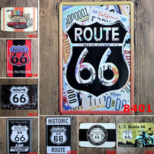 20x30cm American Route US 66 Metal Tin Signs Retro Historic No.66 Wall Art Painting Plaque For Bar Cafe Pub Home Decor Poster