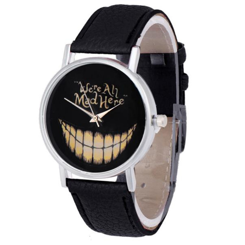 Newly Design WE ARE ALL MAD HERE Watch Evil Smile Emoji PU Leather Quartz Wrist Watches Lady Dress Watches Best Gift Reloj Mujer things are disappearing here – poems