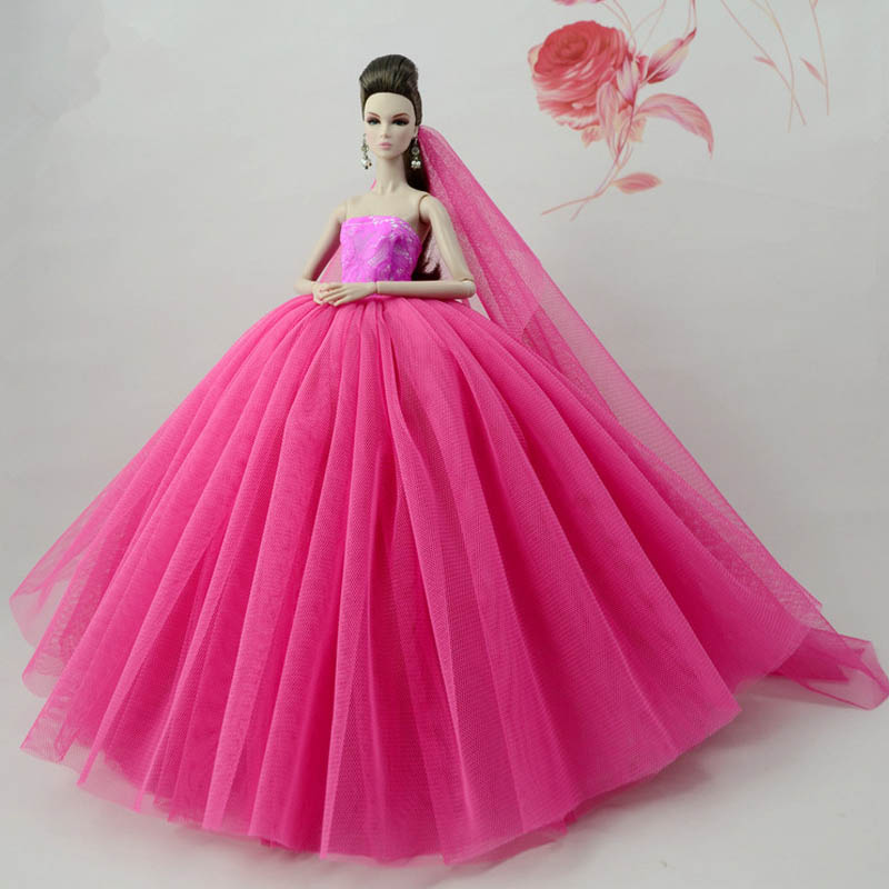 """Light Blue Patchwork Doll Dress For 11.5/"""" Doll Clothes Long Tail Evening Gown"""
