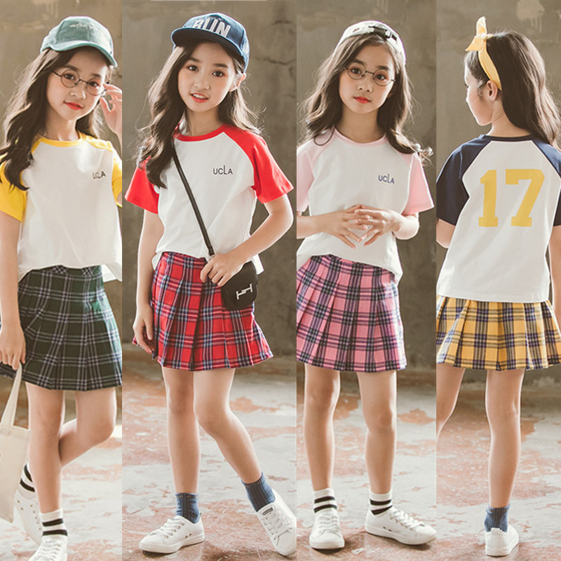 2018 Summer Preppy Chic 2Pcs Sport Set For Schoolo Girls Cotton Mixed Color Tee+Red&Yellow&Green&Pink Plaid Skirt Age 2-14Yrs eyelet insert mixed print tee
