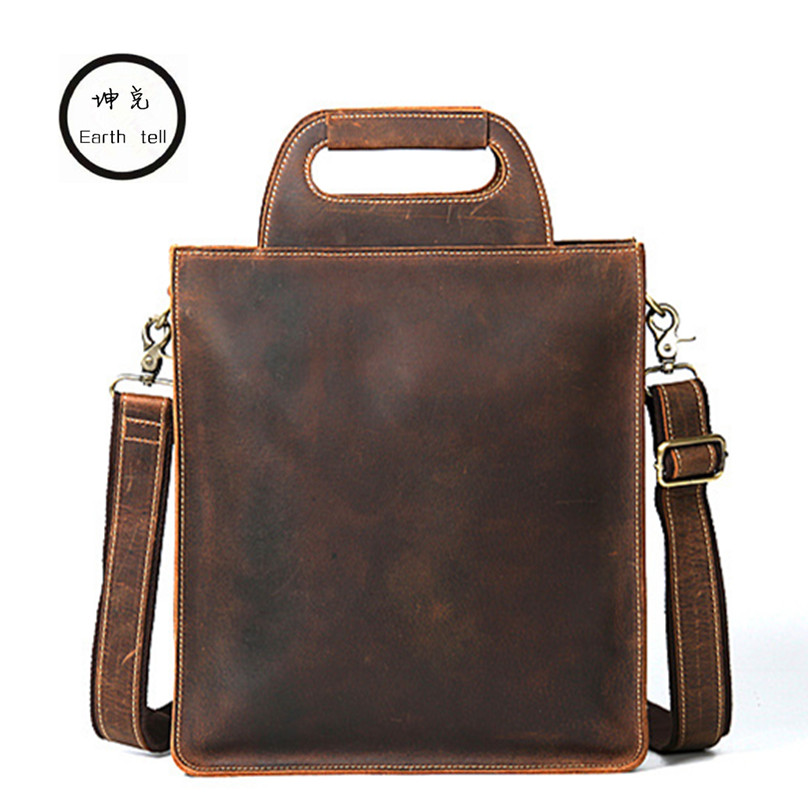 KUNDUI Man Genuine Leather Business Bag Men Shoulder Messenger Bags High Quality Male Crazy horse cowhide Retro travel Handbags contact s brand 2018 hot genuine crazy horse cowhide leather men messenger bag high quality shoulder bag for vintage travel bag
