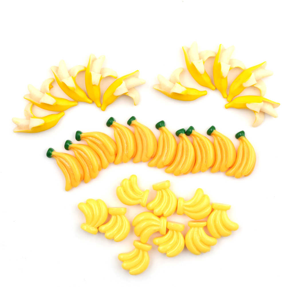 5Pcs Kawaii DIY Embellishment Accessories Resin Artificial Fake Miniature Food Fruit Banana Play DollHouse Toy Decorative Craft