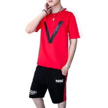 LOLDEAL Summer New Youth  Mens Fashion Casual Sports Suit Round Neck T-shirt Cotton Five Pants Short Set