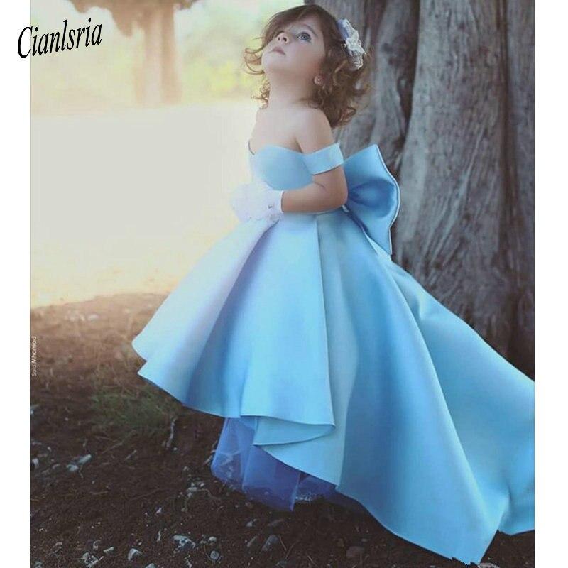 Sky Blue 2019   Flower     Girl     Dresses   For Weddings Ball Gown Off The Shoulder Bow Long First Communion   Dresses   For Little   Girls