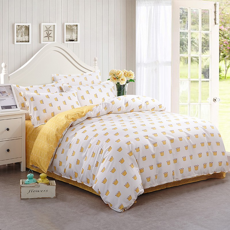 New Cotton Blend Bedding Set Duvet Cover Flat sheet Bed Sheet Pillowcase Fitted Sheet Twin Full Queen Size 6