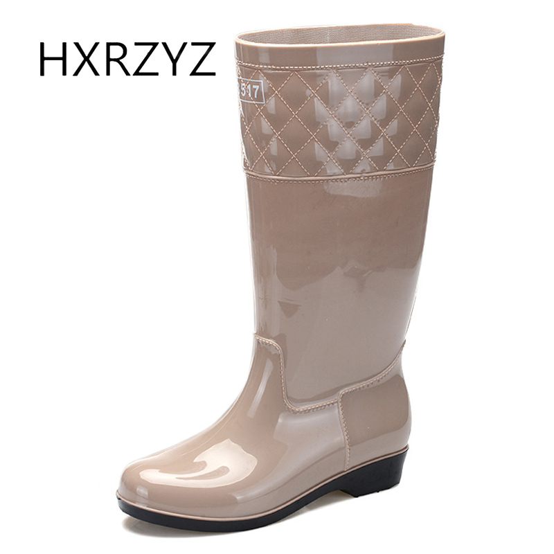 HXRZYZ women's rain boots female knee high rubber boots spring and autumn new fashion PVC waterproof Slip-resistant shoes women hxrzyz women rain boots spring autumn female ankle boots ladies fashion high top blue and red non slip waterproof women shoes