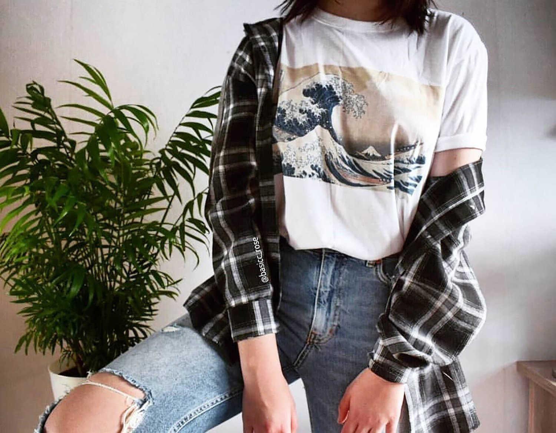 3c80f6ed Japanese Painting Under The Wave Off White T-Shirt Summer Style Women  Tumblr Fashion Short