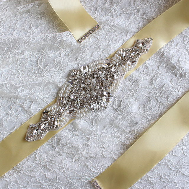 Pearl Bridal Belts Handmade Crystals Women Belts Rhinestones Wedding Belt Crystal Satin Tie Back Drop-water Large Rhinestone
