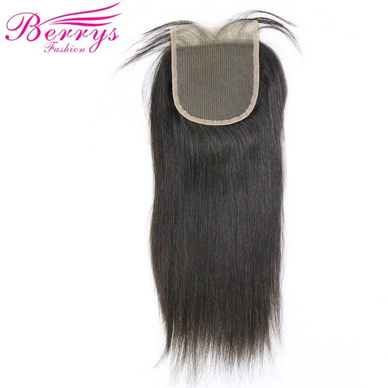 [Berrys Mode] dentelle Fermeture Droite Brésilienne cheveux 4*4 Vierge de Cheveux Humains Partie Libre Partie Médiane Dentelle Fermeture Avec Des Cheveux de Bébé