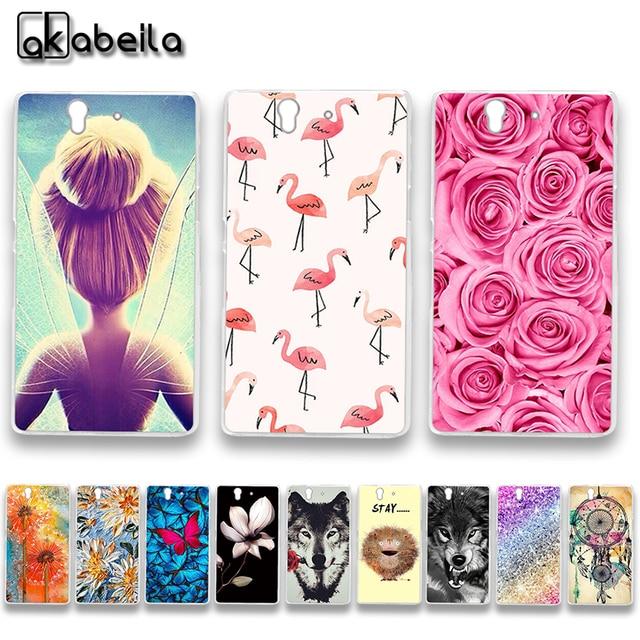 AKABEILA Soft TPU Plastic Phone Cases For Sony Xperia Z L36h C6602 5.0 inch C6603 L36i Covers Nutella Flamingo Tetris Bags Shell