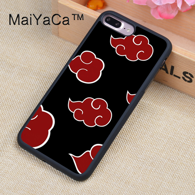 sneakers for cheap 298c7 7419a US $4.32 5% OFF|MaiYaCa Naruto Akatsuki Clan Cloud Symbol Pattern Design  Soft TPU Rubber Back Cover Case For Apple iphone 8 Plus Phone Cases-in  Fitted ...