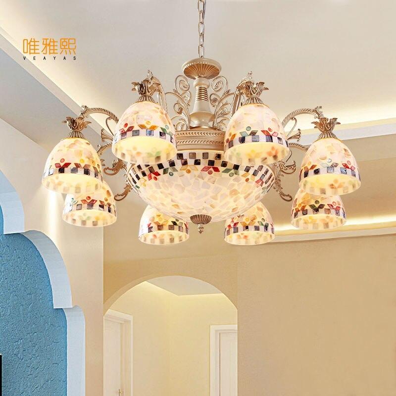 Gold Kronleuchter antike Lampe Wandleuchte Tiffany Light Conch Glas - Innenbeleuchtung - Foto 1