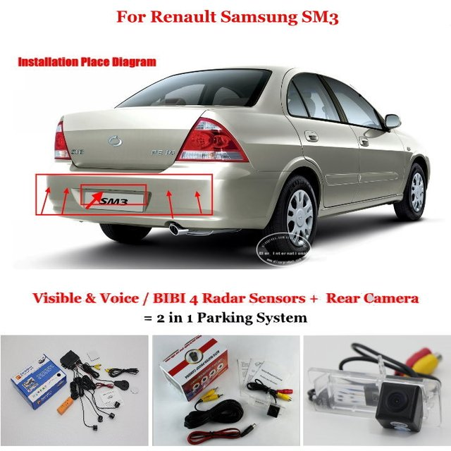 For Renault Samsung SM3 - Car Parking Sensors + Rear View Camera = 2 in 1 Visual / BIBI Alarm Parking System