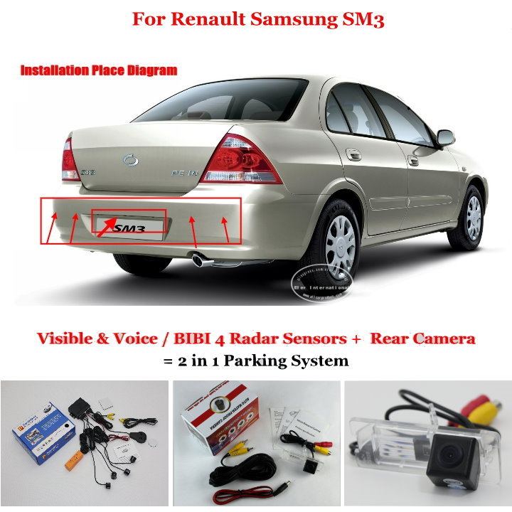 Liislee For Renault Samsung SM3 - Car Parking Sensors + Rear View Camera = 2 in 1 Visual / BIBI Alarm Parking System car parking sensors rear view camera 2 in 1 visual bibi alarm parking system for subaru forester sj 2012 2015