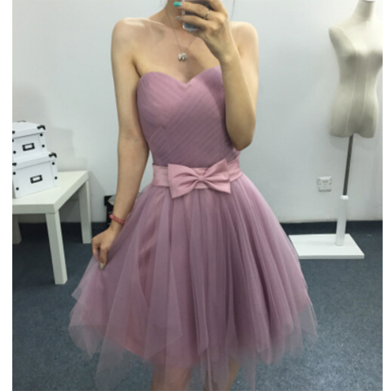 New Simple Pink Prom Dresses 2019 Sweetheart Bow Sashes Tulle Short Prom Dress Cheap Clothes China Vestido De Gala Kaftan