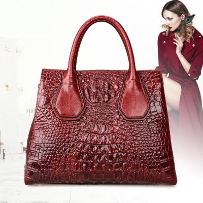 Accept private label Custom logo wholesale drop shipping crocodile genuine leather large bag middle-aged cowhide handbagAccept private label Custom logo wholesale drop shipping crocodile genuine leather large bag middle-aged cowhide handbag