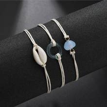 2019 Bohemian 3pcs/set Acrylic Circle Geometric Ankle Bracelets Set Boho Natural Shell Anklets for Women Foot Jewelry BEST GIFT(China)