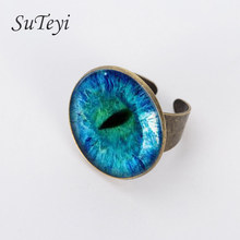 SUTEYI 2017 Classic Picture Jewelry Bronze Silver Adjustable Ring in the DarkNew Style Blue Cat Eye Ring Glass Dragon Eye Rings(China)