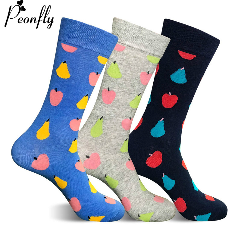 PEONFLY 3 colors Fashion Men Casual cotton Socks Male happy funny Solid Color Print apple-pear pattern Elastic Breathable Socks